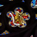 Stained Glass in Exeter Cathedral, West Window Tracery Light Close up F Royalty Free Stock Photo