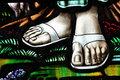 Stained glass feet Royalty Free Stock Photography