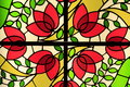 Stained glass floral pattern a beautiful window Royalty Free Stock Photo