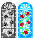 Stained glass floral windows Royalty Free Stock Photos