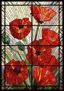 Stained glass flowers poppies on a light background in a geometric frame Royalty Free Stock Photo