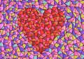Stained glass heart cdr format with background Royalty Free Stock Images