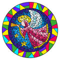 Stained glass illustration with an abstract angel in pink robe blowing pipe , round picture frame in bright