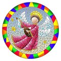Stained glass illustration with an abstract angel in pink robe play the lute , round picture in a bright frame Royalty Free Stock Photo
