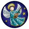 Stained glass illustration with an abstract angel in pink robe play the lute , round picture Royalty Free Stock Photo