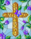 Stained glass illustration with abstract Christian cross and flowers Royalty Free Stock Photo