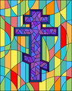 Stained glass illustration with abstract Christian cross Royalty Free Stock Photo