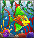 Stained glass illustration with abstract colorful exotic fish amid seaweed, coral and shells