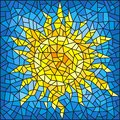 Stained glass illustration abstract cracked sun against the blue sky
