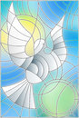 Stained glass illustration with abstract pigeon and the sun in the sky