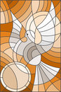 Stained glass illustration  with abstract pigeon and the sun in the sky,tone brown Royalty Free Stock Photo