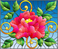 Stained glass illustration with abstract pink flower, buds and leaves of rose on a blue background