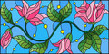 Stained glass illustration with abstract pink flowers on a blue background