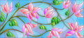 Stained glass illustration with abstract pink flowers on blue background Royalty Free Stock Photo