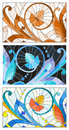 Stained glass illustration with abstract set swirls and flowers , horizontal orientation