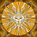 Stained glass illustration abstract sun,brown tone,sepia