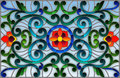 Stained glass illustration with abstract swirls,flowers and leaves on a light background,horizontal orientation