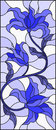 Stained glass illustration with abstract swirls,flowers and leaves