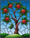 Stained glass illustration with an apple tree standing alone on a hill against the sky