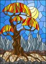 Stained glass illustration with autumn abstract tree on the background of sky, sun and mountains