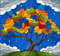 Stained glass illustration with autumn tree on sky background with the stars