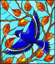 Stained glass illustration with a beautiful blue bird on a background of autumn branch of tree and sky