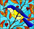 Stained glass illustration with a beautiful lue bird on a background of autumn branch of tree and sky