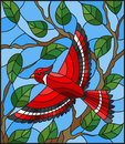 Stained glass illustration with a beautiful red bird on a background of branch of tree and sky