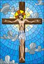 Stained glass illustration on the biblical theme, Jesus Christ on the cross against the cloudy sky and the sun