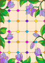 Stained glass illustration with blue flowers , imitation stained glass Windows
