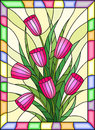 Stained glass illustration with a bouquet of pink tulips on a yellow background with bright frame