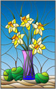 Stained glass illustration with bouquets of Narcissus flowers in a blue vase and apples on table on blue background