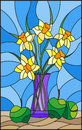 Stained glass illustration with bouquets of Narcissus flowers in a blue vase