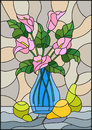 Stained glass illustration with bouquets of pink Calla lilies flowers in a blue vase and pears on table on beige background