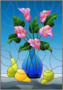 Stained glass illustration with bouquets of pink Calla lilies flowers in a blue vase