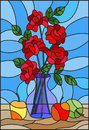 Stained glass illustration with bouquets of roses flowers in a blue vase and apples on table on blue background