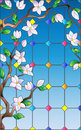 Stained glass illustration with branch of Sakura , imitation stained glass Windows