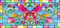 Stained glass illustration with bright butterfly and floral ornament on a blue background in a frame Royalty Free Stock Photo