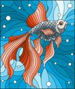 Stained glass illustration with bright gold fish on the background of water and air bubbles Royalty Free Stock Photo