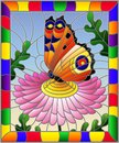 Stained glass illustration with a bright orange butterfly on a pink flower, rectangular image in a bright frame Royalty Free Stock Photo