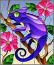 Stained glass illustration with bright purple chameleon on plant branches background with leaves and flowers on blue background Royalty Free Stock Photo
