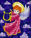 Stained glass illustration with cartoon  angel in pink robe playing the harp against the cloudy sky and stars Royalty Free Stock Photo