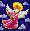 Stained glass illustration with cartoon red-haired angel in a pink dress  playing the lute against the cloudy sky with stars Royalty Free Stock Photo