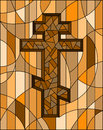 Stained glass illustration with the Christian cross on abstract geometric background, brown tone, Sepia Royalty Free Stock Photo