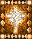 Stained glass illustration with a Christian cross,frame, brown tone, Sepia