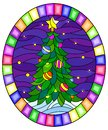 Stained glass illustration with  a Christmas tree on a background of snow and starry sky, oval illustration in bright frame Royalty Free Stock Photo