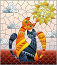 Stained glass illustration A couple of cats sitting on the roof against the cloudy sky and the sun