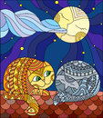 Stained glass illustration A couple of cats sitting on the roof against the starry sky and the moon