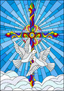 Stained glass illustration with a cross and a pair of white doves