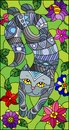 Stained glass illustration with a cute grey cat on a background of meadows and bright flowers
